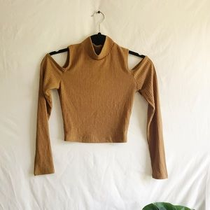Tan Long Sleeve Cutout Crop Top